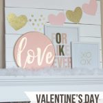 Pink and Gold Valentine's Day Mantel