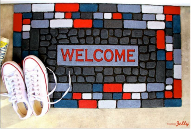Makeover an old boring welcome mat home jelly
