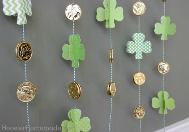 Paper Shamrock with gold coins garland hoosier homemade