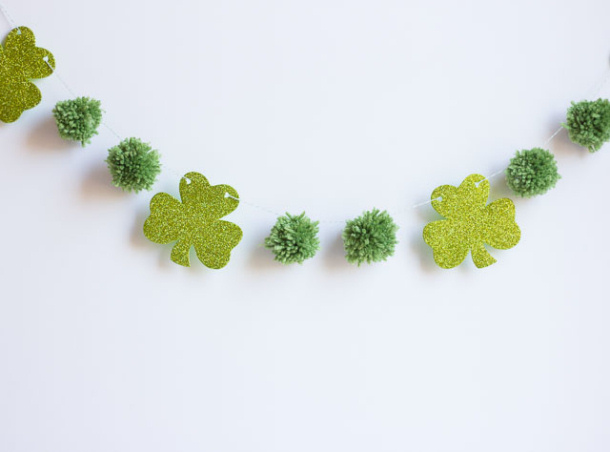 Pom Pom and glitter shamrocks garland land of nod