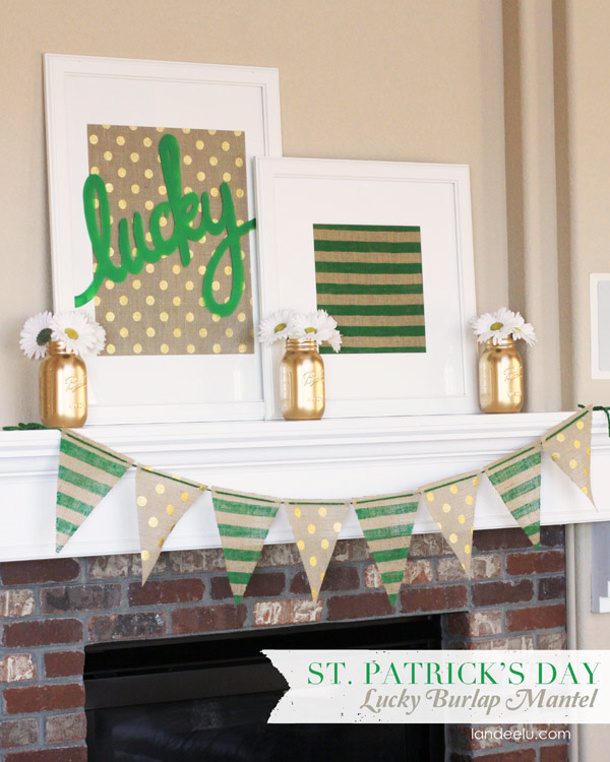 St-Patricks-Day-Lucky-Burlap-Mantel