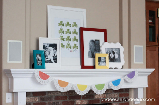 St+Patrick's+Day+mantel+ with doily rainbow garland Landeelu