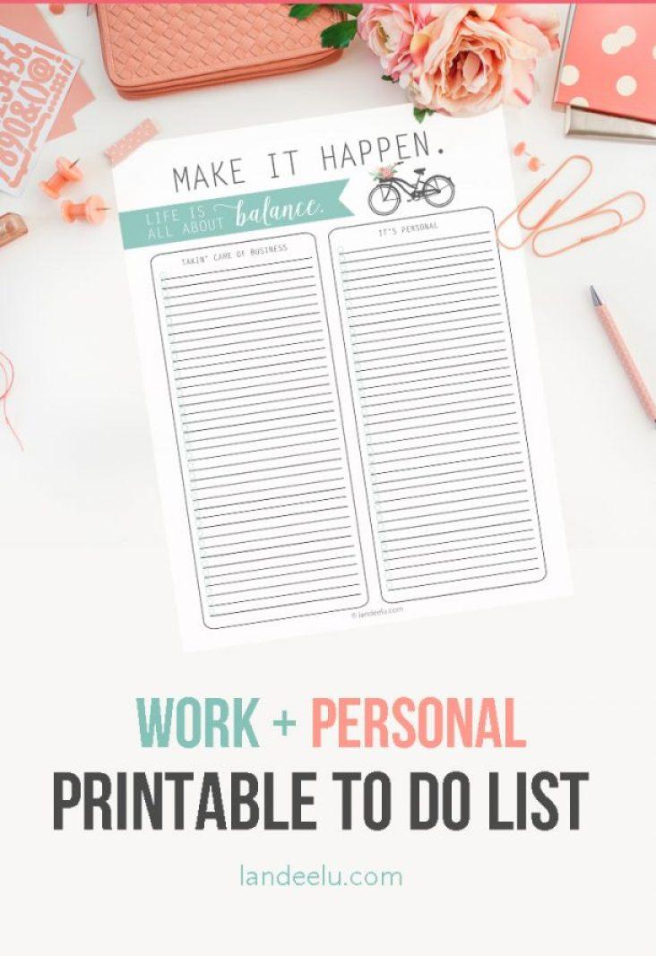 Work + Life Balance To Do List Template Printable | landeelu.com Great way to organize business and personal stuff into task lists!