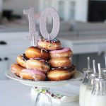 A donut birthday party! Isn't that donut cake adorable? Would be a cute party theme!