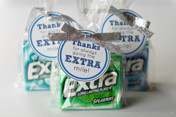 DIY Crafts Extra Mile Teacher Appreciation Gift Idea and Free Printables - Tags for gum via the Pennywise Mama