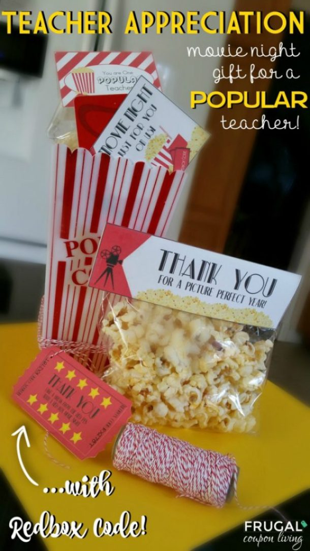 DIY Projects -Movie Night Teacher Appreciation Gift to add a REDBOX code with FREE Printables | Frugal Coupon Living