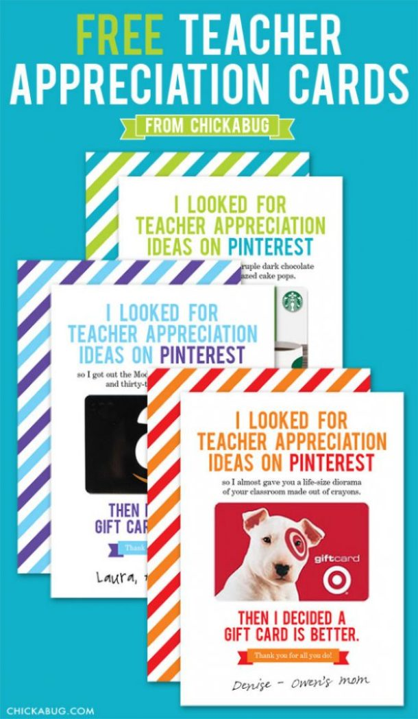 Do It Yourself Paper Craft Funny Teacher Appreciation Gift Card FREE cards to attache a gift card to a variety of stores! via Chickabug