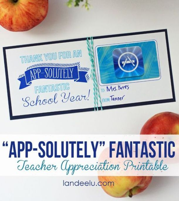 Teacher Appreciation Week ITunes Gift Card Idea via Landeelu