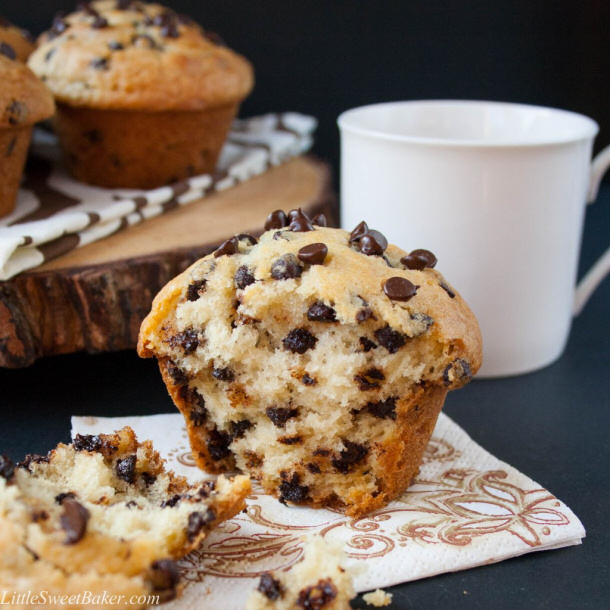 Bakery Style Chocolate Chip Cookies Muffins Recipe via Little Sweet Baker