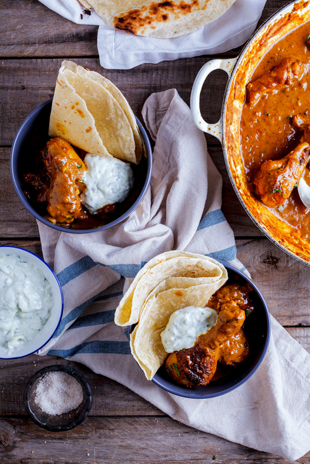 Chicken Curry Recipe - Easy Weeknight Chicken Curry with Cucmber Yoghurt and Roti Recipe via Simply Delicious