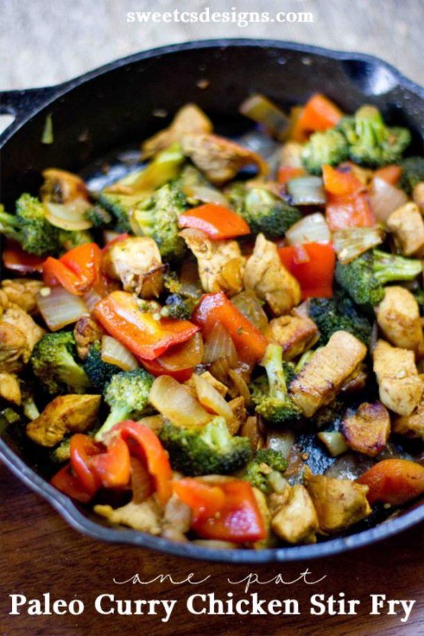 Chicken Curry Recipe - One Pot Paleo Curry Chicken Stir Fry via Sweet Cs Designs