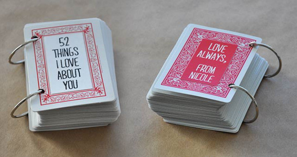 DIY gift ideas for Mothers Day - DIY 52-things-i-love-about-you tutorial using a deck of cards via visual heart
