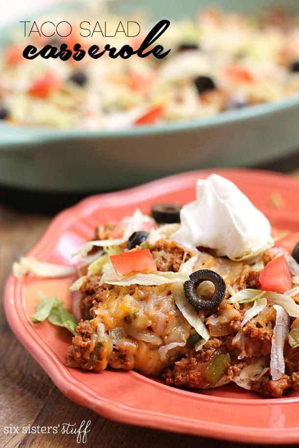 Ground Beef Recipes - 20 Minute Taco Salad Casserole Recipe via Six Sisters Stuff