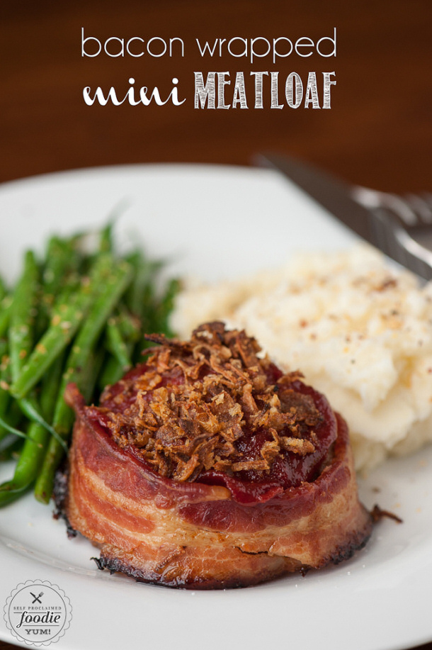 Ground Beef Recipes - Bacon Wrapped Mini Individual Meatloafs Recipe via SPF