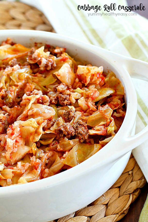 Ground Beef Recipes - Beef Cabbage Roll Casserole Recipe via Yummy Healthy Easy