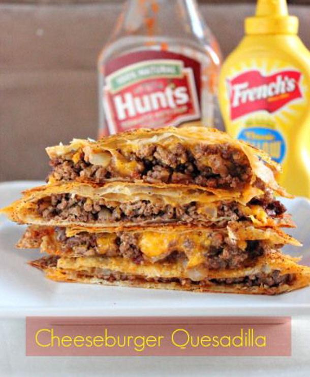 Ground Beef Recipes - Cheeseburger quesadillas via brown sugar