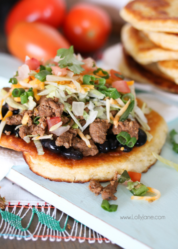 Ground Beef Recipes - Quick and Easy Navajo Tacos Recipe via Lolly Jane
