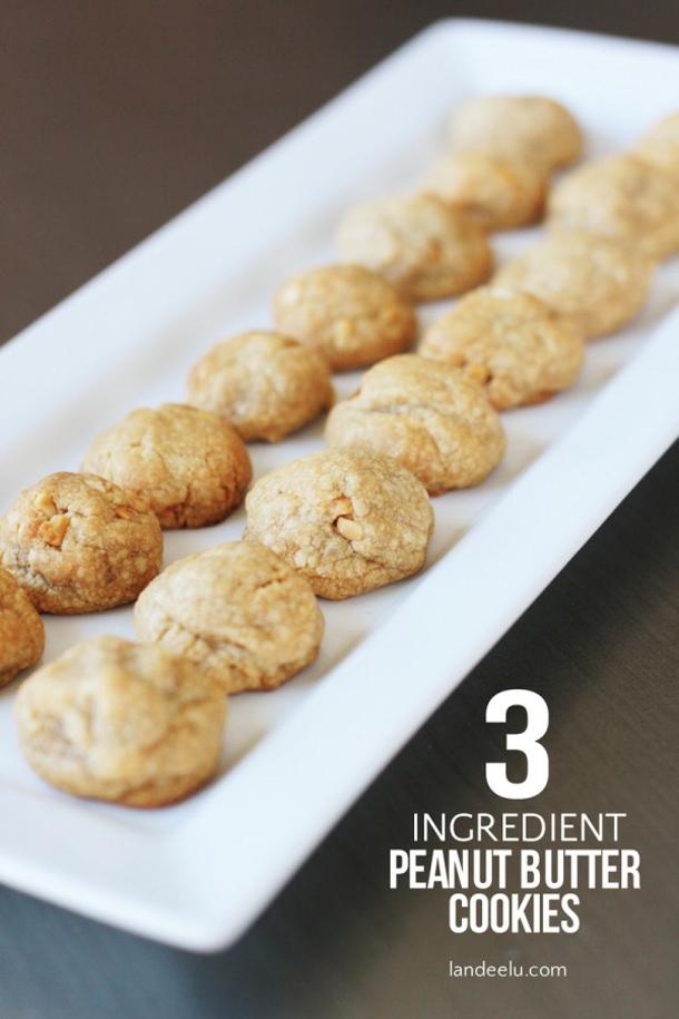 3 Ingredient Peanut Butter Cookies Recipe - Gluten Free via Landeelu