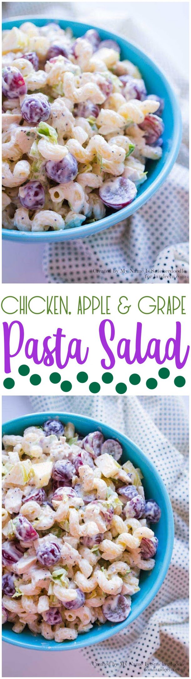 Chicken Apple and Grape Pasta Salad Recipe via Landeelu - A delicious and tangy Chicken Apple Pasta Salad recipe that is definitely a crowd-pleaser!