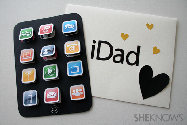 DIY Fathers Day Gift Ideas - Perfect Card for the iPhone Dad - iDad Paper Craft Card Tutorial via sheknows