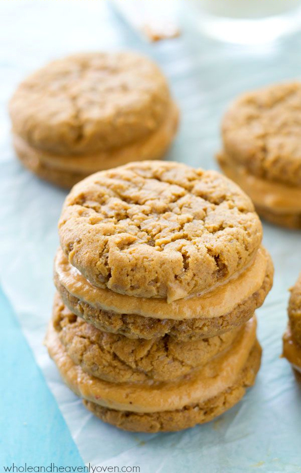 Extra Chewy Peanut Butter Sandwich Cookies Recipe via Whole and Heavenly Oven
