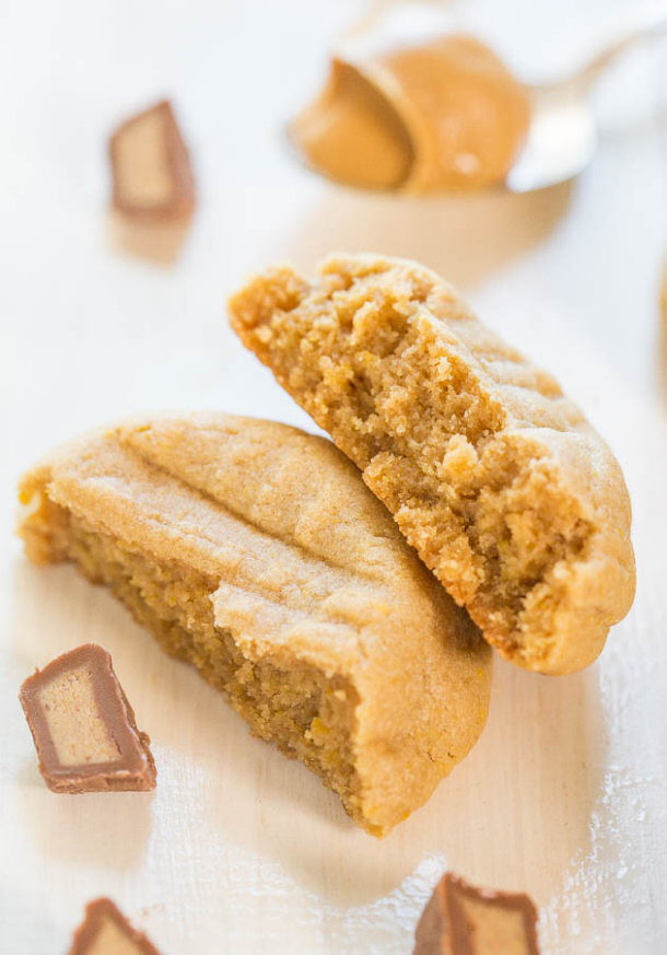 Inside of a Peanut Butter Cup Cookies Recipe via Averie Cooks