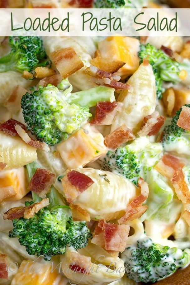 Pasta Salad Recipe - Loaded Pasta Salad - This salad has everything but the kitchen sink. The perfect side dish or yummy meal all by itself! Recipe via The Midnight Baker