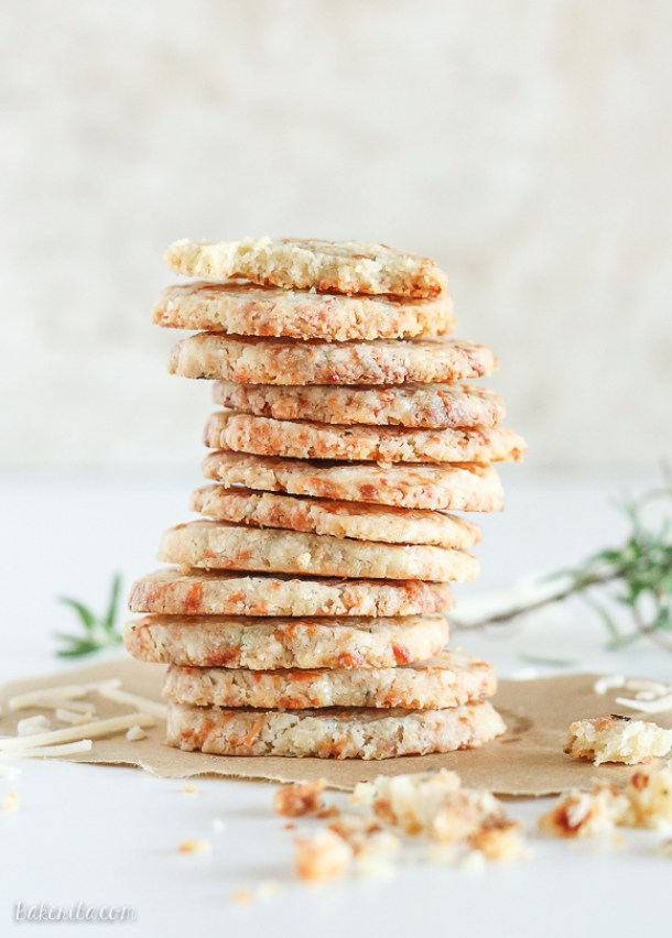 Shortbread Cookies - Parmesan Rosemary Shortbread Cookies Recipe via Bakerita