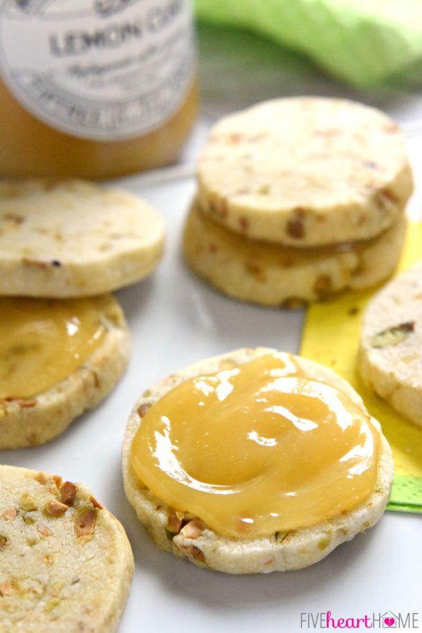 Shortbread Cookies - Pistachio Shortbread Sandwich Cookies with Lemon Curd Filling Recipe via Five Heart Home
