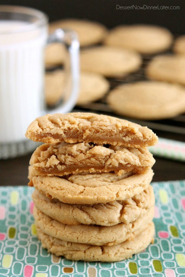 Thick and Chewy Peanut Butter Cookies Recipe via Dessert Now Dinner Later