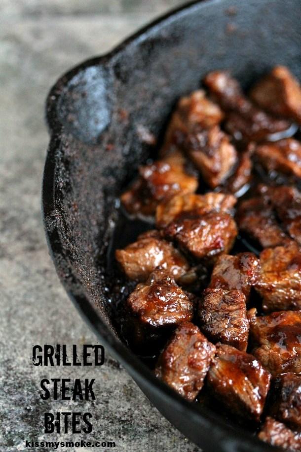 Beef Recipes - Grilled Steak Bites Recipe via Kiss My Smoke