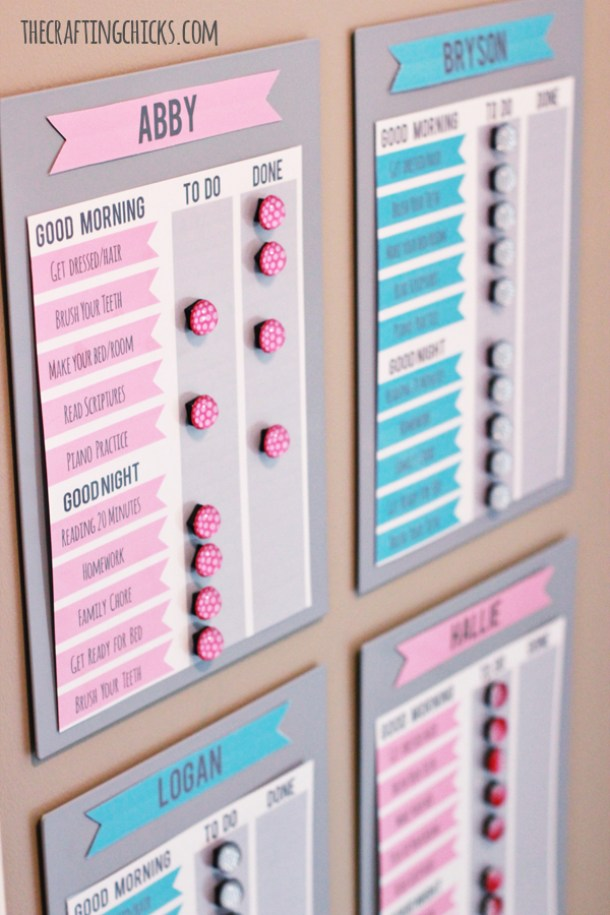 DIY Chore Charts - Family Morning Motivation Ikea Hack - Cute Job Charts System for Kids and Printables via The Crafting Chicks