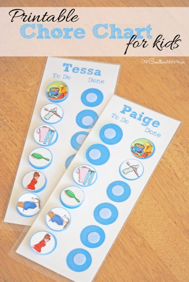 DIY Chore Charts - Reusable Printable Chore Chart System for Kids Using Adhesive Velcro and Laminated via One Creative Mommy