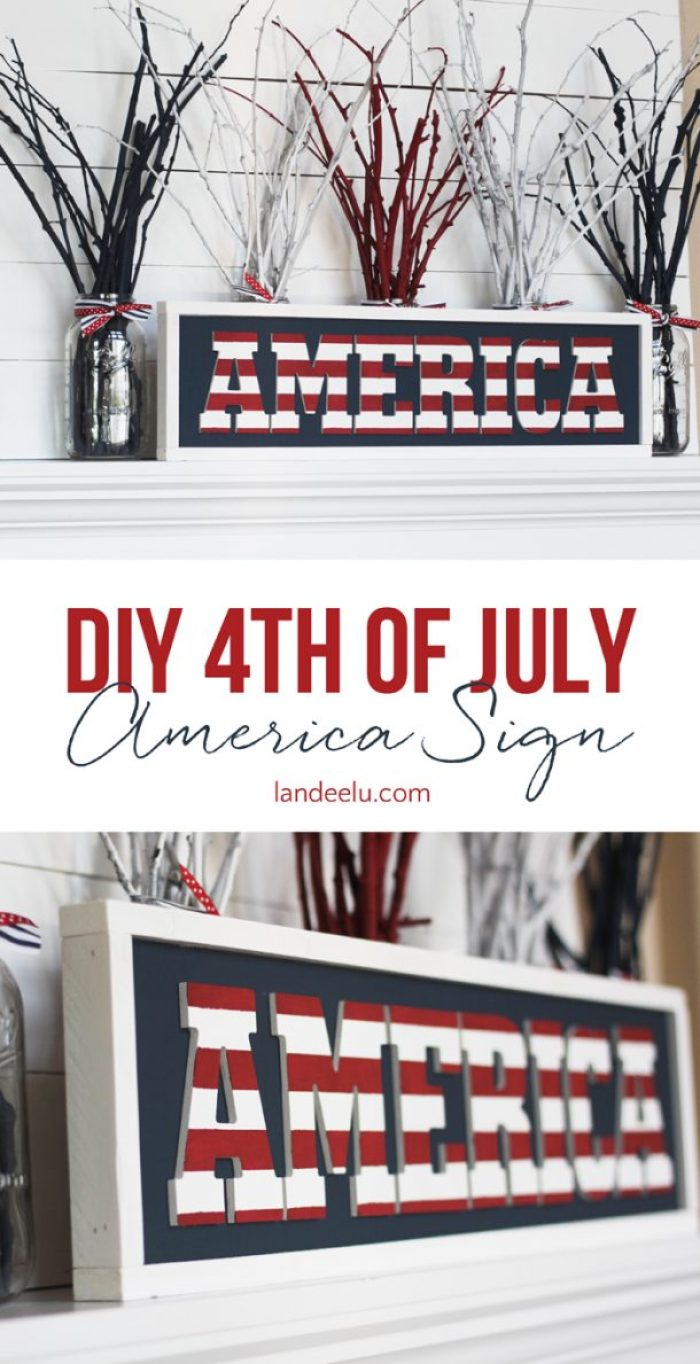 "If you can paint and glue stuff then you can make this! DIY Independence Day Patriotic ""America"" Sign Tutorial 