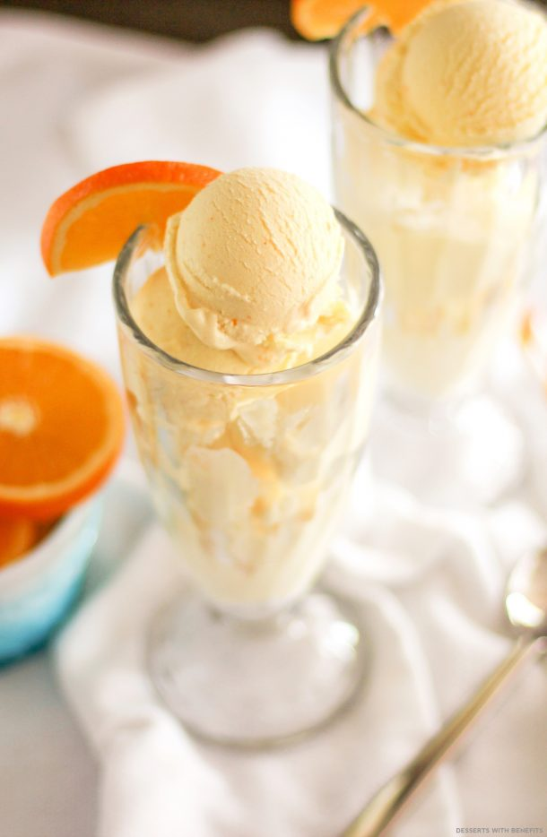 Ice Cream Dessert Recipes - Healthy Orange Creamsicle Ice Cream Recipe — refined sugar free, low carb, low fat, low calorie and high protein via Dessert with Benefits
