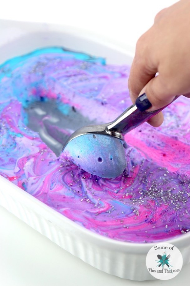 Ice Cream Dessert Recipes - Homemade FUN Galaxy Ice Cream Recipe from Some of This and That