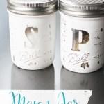 DIY Mason Jar Salt and Pepper Shakers - what a cute gift idea! #saltandpepper #masonjarcraft #giftidea #salt&peppershakers