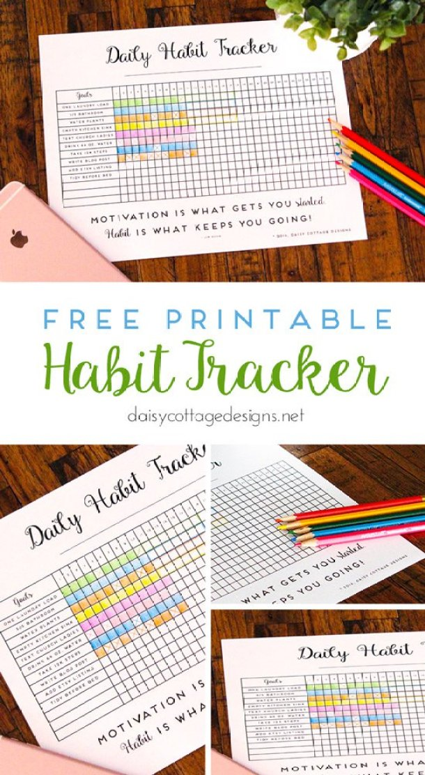 Organizational Printables - Daily Habit Tracker FREE Printable via Daisy Cottage Designs