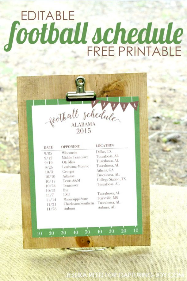 Organizational Printables - Editable-Football-Schedule-Free-Printable via Capturing Joy with Kristen Duke