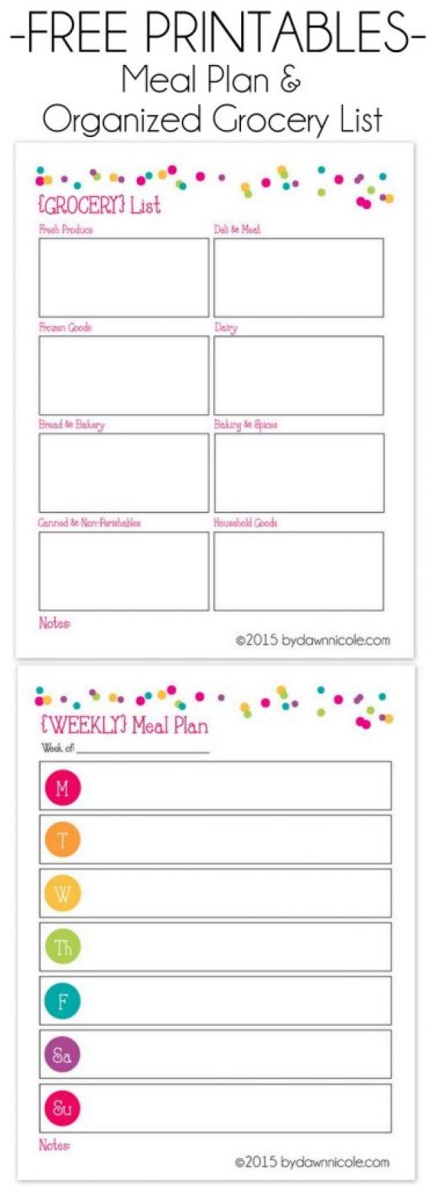 Organizational Printables - FREE Printable Meal Plan and Grocery Lists via Dawn Nicole Designs