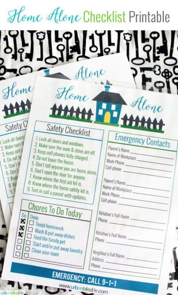 Organizational Printables - Home Alone Checklist for Kids Printable via Todays Creative Life