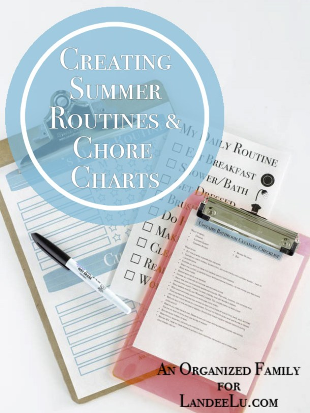 Organizational Printables - Summer Routines and Chore Charts System with Printables via Landeelu