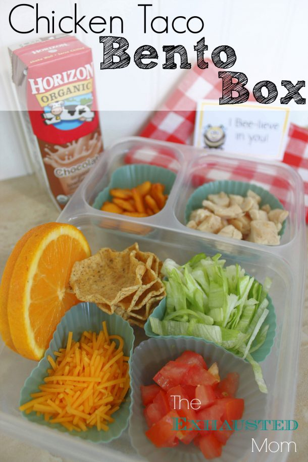Chicken Taco Bento Box Lunch - Fun Back to School Lunch Recipe via The Exhausted Mom