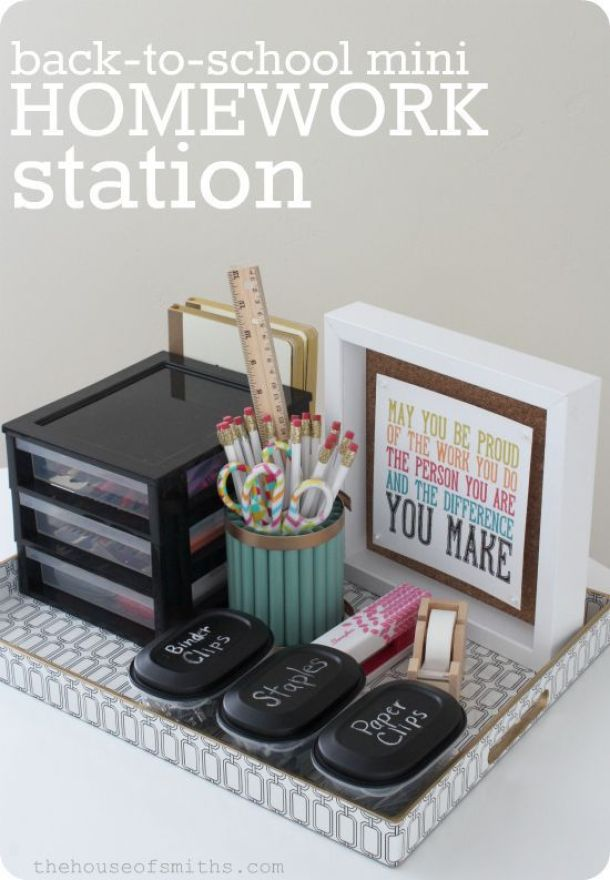 DIY Back to School Homework Station Ideas - Mini Homework Station Tutorial for Small Spaces and portable via the house of smiths