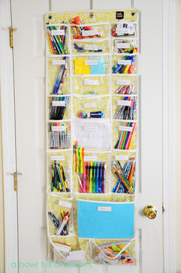 DIY Back to School Homework Station Ideas - Use an over the door organizer as a homework and art supply station via a bowl full of lemons