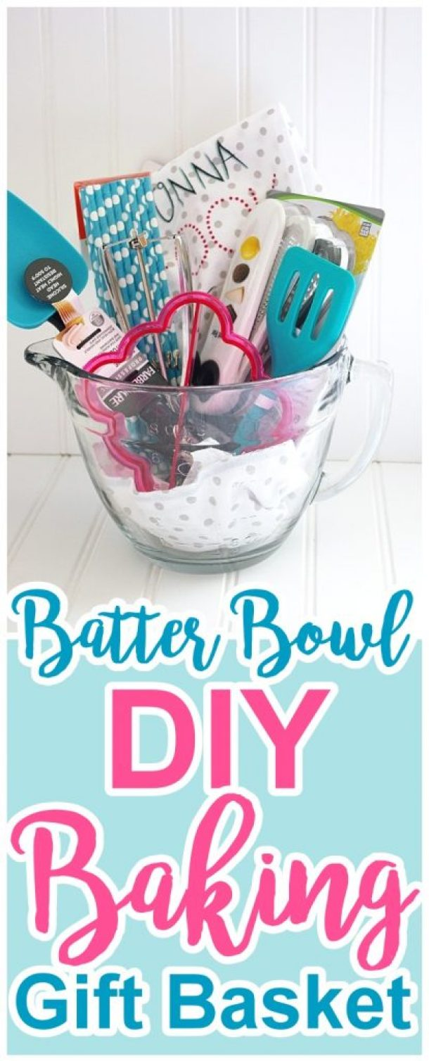 DIY Batter Bowl Baking Gift Basket via Dreaming in DIY - Do it Yourself Gift Baskets Ideas for All Occasions - Perfect for Christmas, Mother's Day, Thank You, Birthdays or anytime!