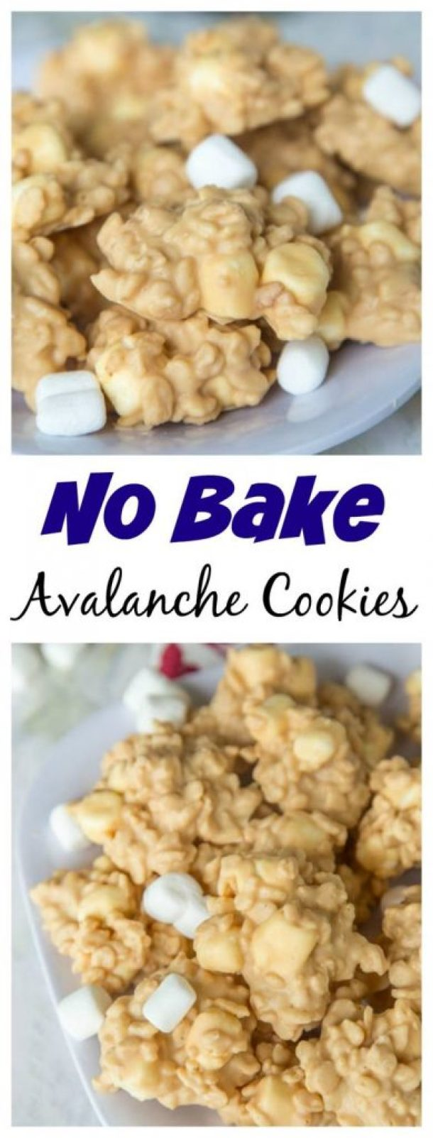 No Bake Cookies Recipes - Easy No Bake Avalanche Cookies - White Chocolate Peanut Butter and Marshmallow Yumminess via Dinners Dishes and Desserts