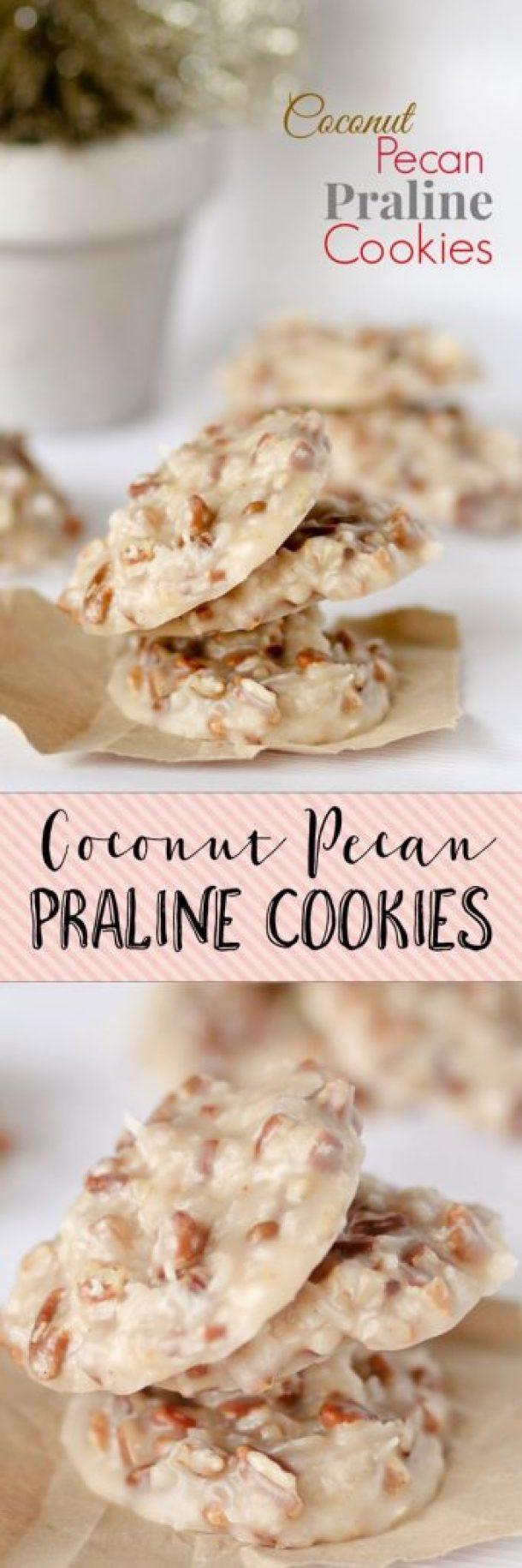 No Bake Cookies Recipes - No Bake Coconut Pecan Praline Cookies Recipe via Confessions of a Cookbook Queen