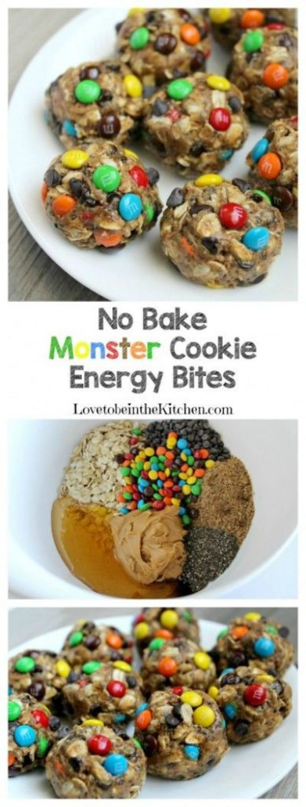No Bake Cookies Recipes - No Bake Monster Cookie Energy Bites Recipe via Love to be in the Kitchen