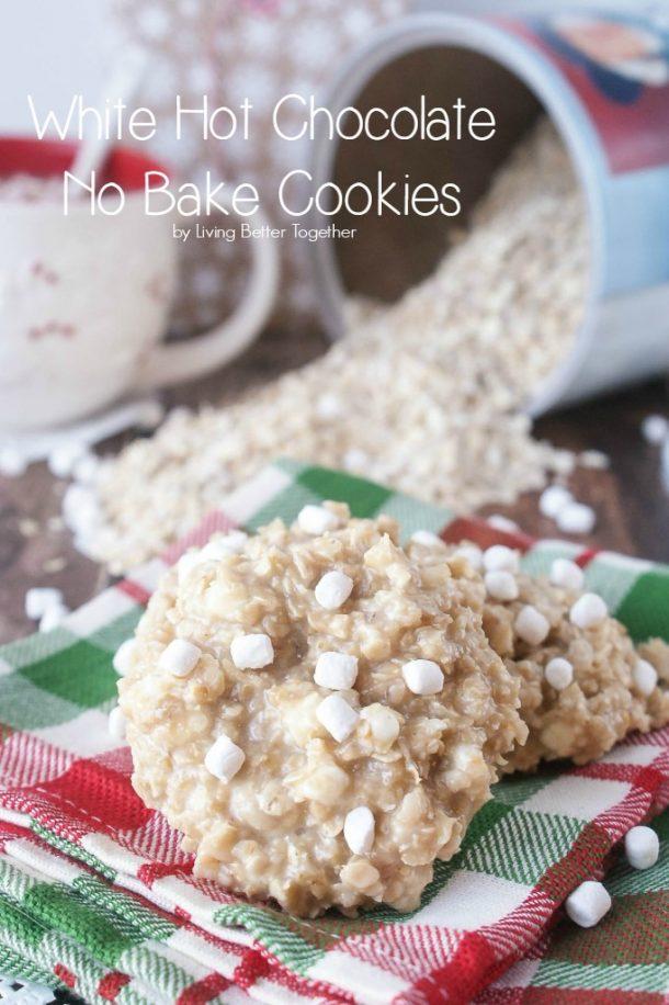 No Bake Cookies Recipes - No Bake Oatmeal White Hot Chocolate Cookies Recipe via Sugar and Soul